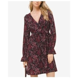Michael Kors Red Shirred Ruffled Sleeves Red Dress